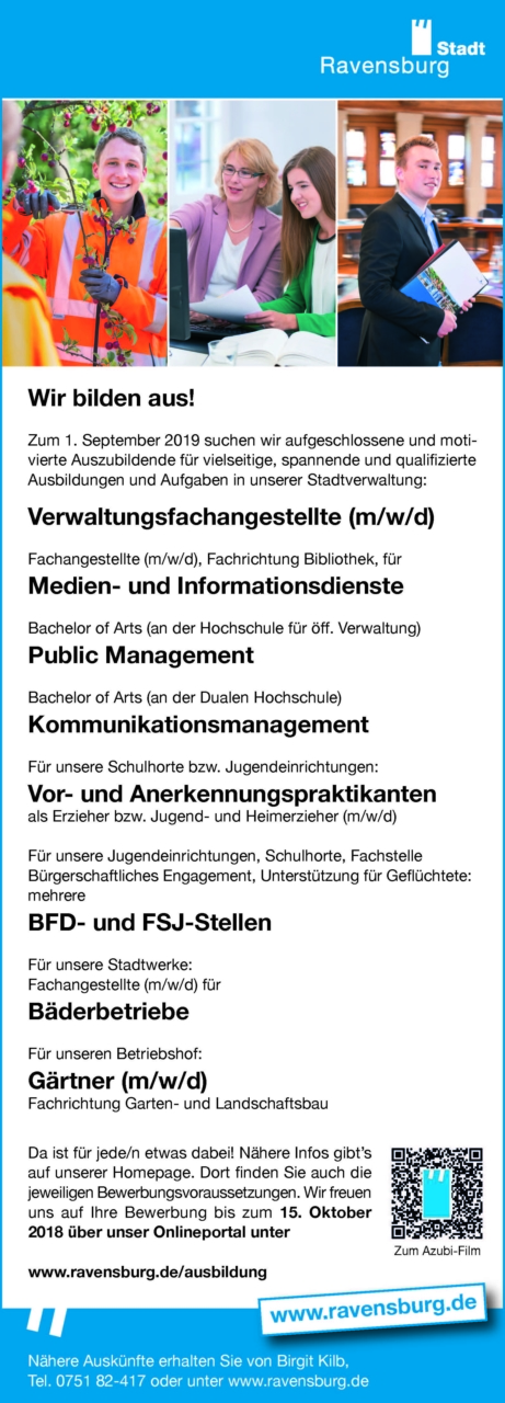 Ausbildung   Stadt Ravensburg